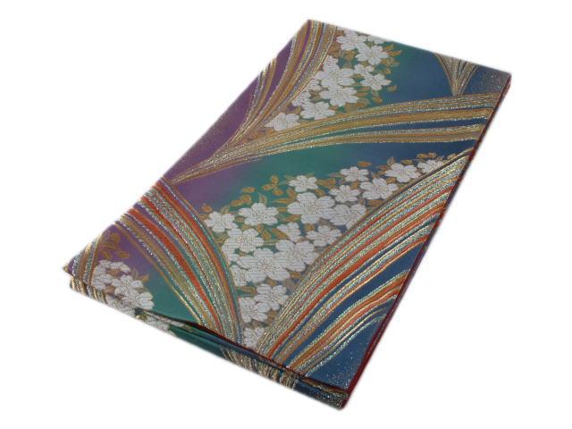 リサイクル振袖用仕立て上がり袋帯桜(青緑紫のグラデーション)【中古】