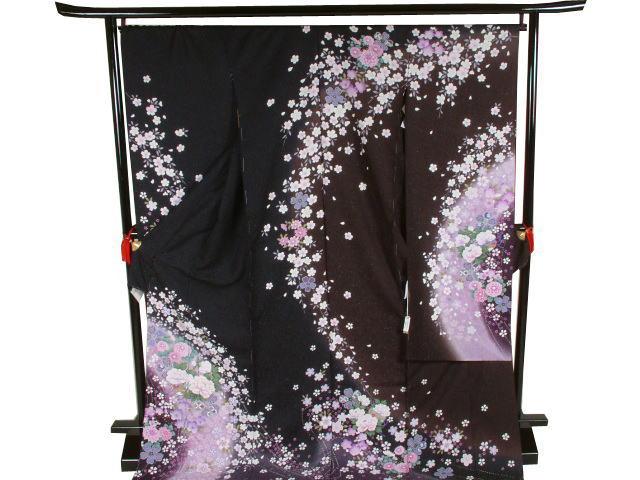 振袖桜と菊と毬(黒×茶)