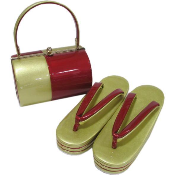 草履 バッグ 成人式 結婚式 振袖 金×赤 バッグセット おすすめ 振袖用草履 海外並行輸入正規品 103