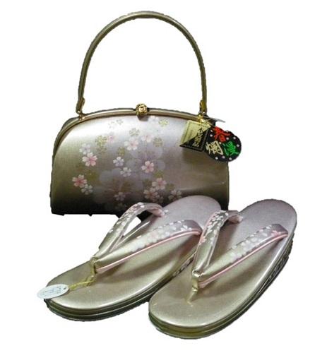 草履バッグセット【春爛漫】【Lサイズ】【ゴールド・ピンク】【本革】【日本製】【成人式】【卒業式】【結婚式】【送料無料】