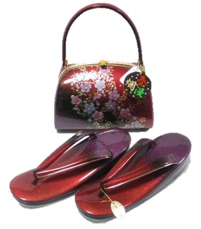 草履バッグセット 春爛漫 Mサイズ 赤 紫 本革 日本製 成人式 卒業式 結婚式 送料無料