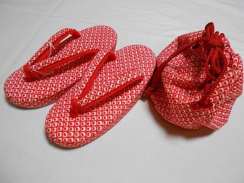3才草履・巾着2点セット【赤かのこ】【3歳】【七五三】【送料無料】
