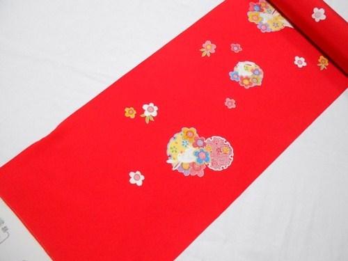 スーパーSALE対象商品 小紋反物 正絹 赤地 七五三 十三祝い 日本製 浜ちりめん 未仕立て 7歳 7才 送料無料