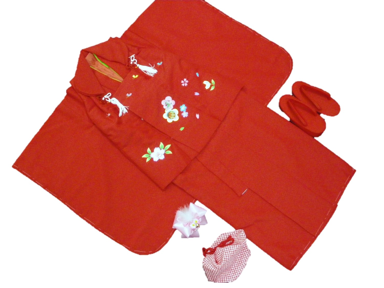 3才被布6点セット【赤地・刺繍花柄】【日本製】【3歳】【七五三】【送料無料】