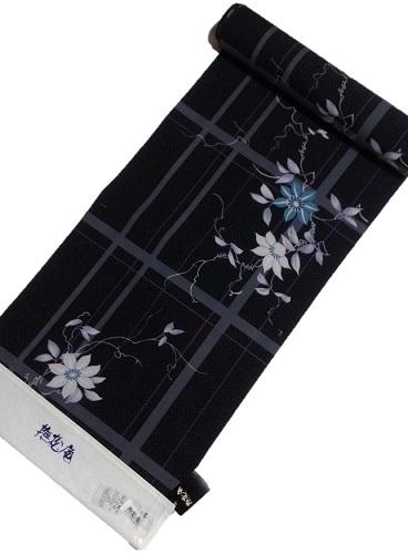 浴衣反物【撫松庵】【鉄線格子】【クロ】【日本製】【セオα】【送料無料】