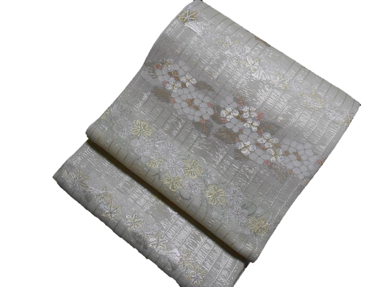 人気ブランド 夏正絹袋帯 セール開催中最短即日発送 紗 西陣まいづる 銀波 白 未仕立て 送料無料 日本製