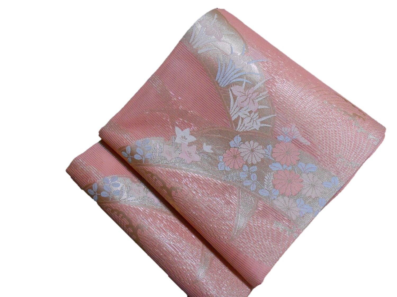 夏正絹袋帯【紗】【西陣まいづる】【羽衣】【日本製】【ピンク】【未仕立て】【在庫処分品】【送料無料】