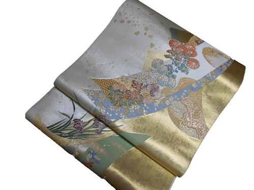 正絹袋帯 西陣 橋本機業店 金地 日本製 送料無料 数量限定 未仕立て 中古