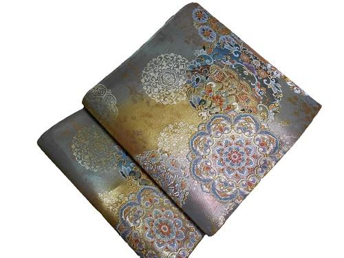正絹袋帯 西陣 堀健 金地 日本製 新作製品、世界最高品質人気! 送料無料 未仕立て 年間定番