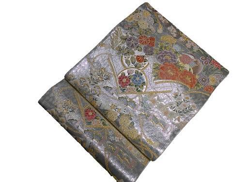 正絹袋帯 西陣 今井織物 往復送料無料 セール価格 シルバー地 日本製 未仕立て 送料無料