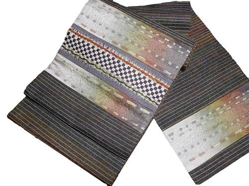 正絹袋帯 西陣 創作帯まつ岡 やや長尺 茶色地 日本製 未仕立て 送料無料