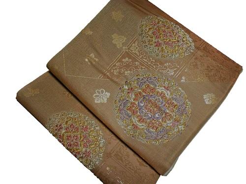 正絹袋帯 西陣 西野 金地 日本製 正倉院文様 未仕立て 送料無料