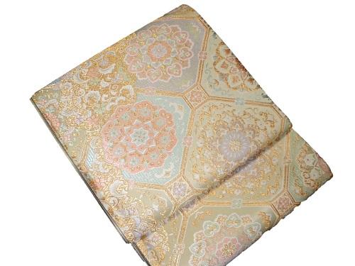 正絹袋帯 西陣 やまひで 金地 日本製 隅切り角 未仕立て 送料無料