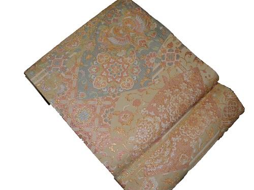 正絹袋帯 西陣 やまひで 金地 日本製 扇 未仕立て 送料無料