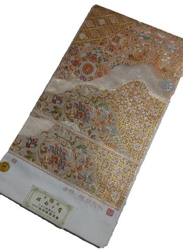 正絹袋帯 服部織物 こはく錦 白地 日本製 未仕立て 送料無料