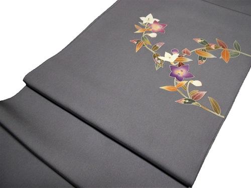 正絹染九寸名古屋帯 染め帯 桔梗 濃グレー地 日本製 塩瀬 未仕立て 送料無料
