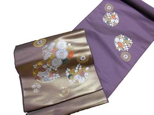 正絹九寸名古屋帯【西陣】【丸福織物】【紫】【日本製】【未仕立て】【送料無料】