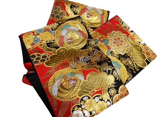 正絹袋帯 西陣 吹山織物 振袖向き 赤地 日本製 未仕立て 在庫処分品 送料無料 成人式