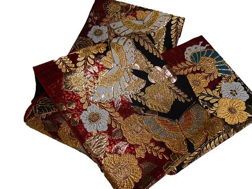 正絹袋帯 西陣 振袖向き 赤地 日本製 未仕立て 在庫処分品 送料無料 成人式