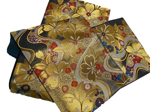 正絹袋帯 西陣 御薗織物 振袖向き 金・グレー地 日本製 未仕立て 在庫処分品 送料無料 成人式