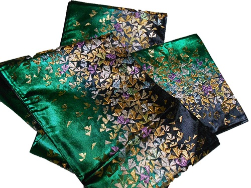 正絹袋帯 西陣 宮田織物 振袖向き グリーン地 日本製 未仕立て 在庫処分品 送料無料 成人式