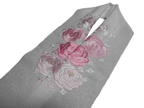 刺繍半衿【白地・薄ピンクバラ刺繍】【日本製】