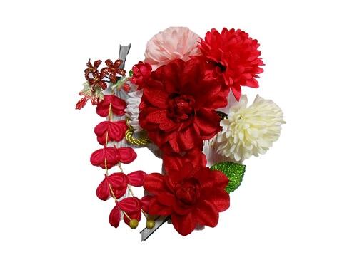 髪飾り3点セット【赤・白・ピンク】【kg08】【成人式】【結婚式】【卒業式】