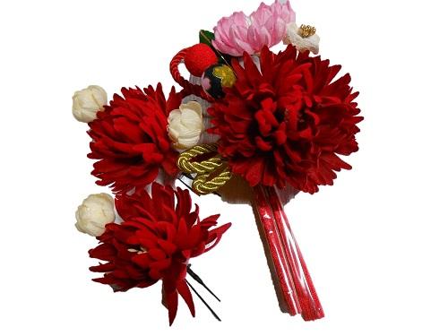 髪飾り3点セット【赤・白・ピンク】【kg301】【成人式】【結婚式】【卒業式】