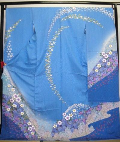正絹振袖 振袖美術館 七宝染め 吉澤織物 柄八掛付 日本製 水色 国産生地 未仕立て 送料無料
