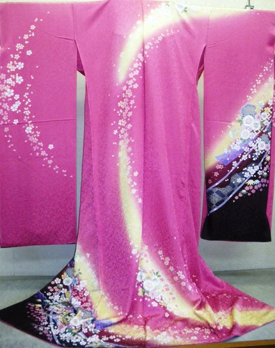 正絹振袖 振袖美術館 舞袖 吉澤織物 柄八掛付 日本製 ピンク 国産生地 未仕立てWDI2H9EY