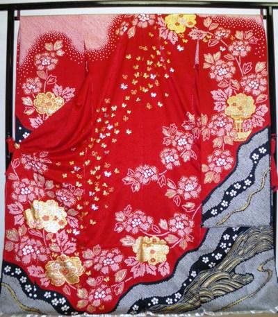 正絹振袖 絞り 金彩 柄八掛付 日本製 赤地 国産生地 未仕立て 送料無料