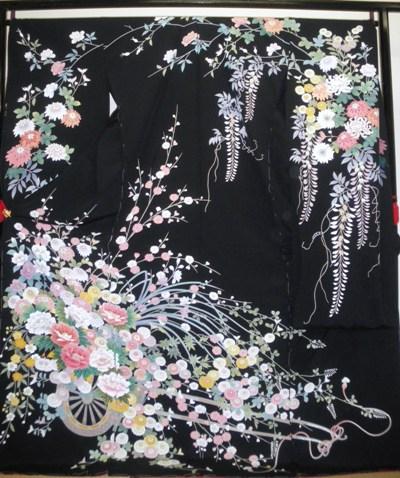 正絹振袖 黒地 加賀友禅調 松屋織物 柄八掛付 日本製 浜ちりめん 未仕立て 送料無料