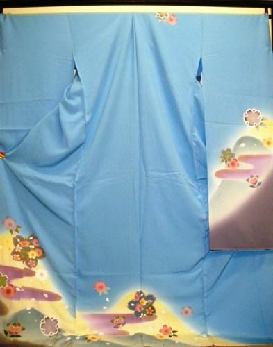 正絹振袖 水色 在庫処分品 無地八掛付 日本製 未仕立て 送料無料
