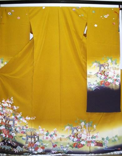 正絹振袖 王朝かさね 吉澤織物 柄八掛付 日本製 カラシ 在庫処分品 国産生地 未仕立て 送料無料