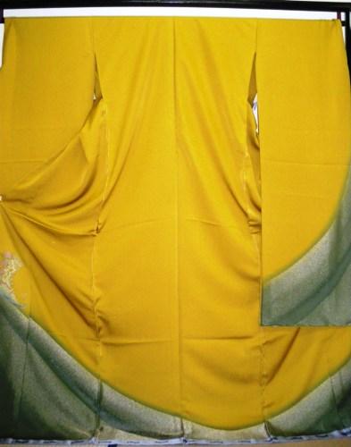 正絹振袖 カラシ色 丹後ちりめん KANSAI 在庫処分品 無地八掛付 日本製 未仕立て 送料無料