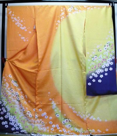 正絹振袖 オレンジ 在庫処分品 無地八掛付 日本製 未仕立て