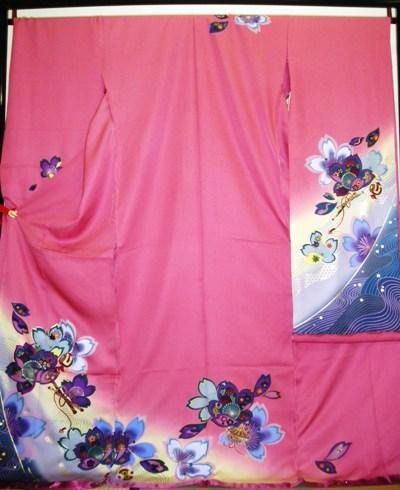 正絹振袖 ピンク 丹後ちりめん 無地八掛付 日本製 在庫処分品 未仕立て 送料無料