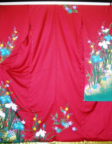 正絹振袖 赤 ルネッサンス 無地八掛付 日本製 在庫処分品 未仕立て 送料無料