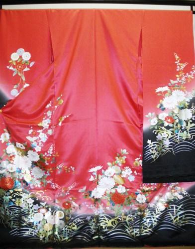 正絹振袖 ピンクオレンジ 金彩 無地八掛付 日本製 在庫処分品 未仕立て 送料無料
