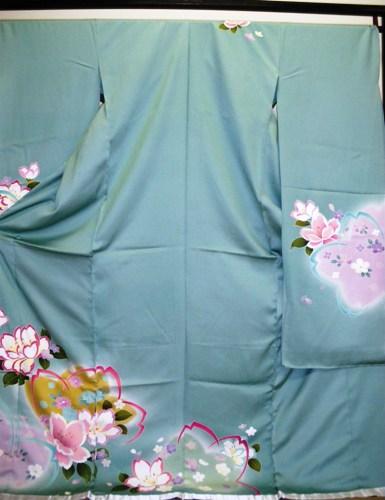 正絹振袖 薄グリーン 無地八掛付 日本製 ワケ有り 新作入荷!! 未仕立て 正規品 送料無料 在庫処分品