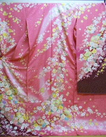 正絹振袖 振袖美術館 吉澤織物 柄八掛付 日本製 ピンク アズキ色ぼかし 国産生地 未仕立て 送料無料