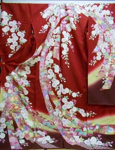 正絹振袖 振袖美術館 吉澤織物 柄八掛付 日本製 赤 熨斗柄 国産生地 未仕立て 送料無料