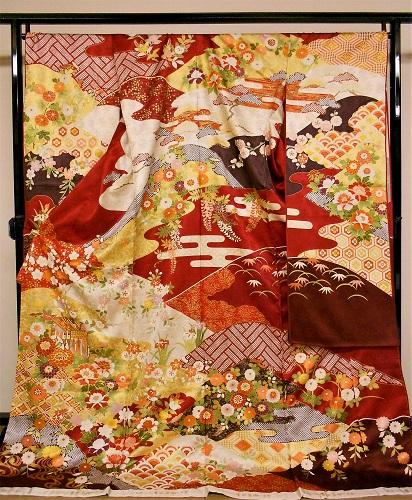 正絹振袖 吉田蓑助 吉澤織物 柄八掛付 日本製 赤 丹後ちりめん 未仕立て 送料無料