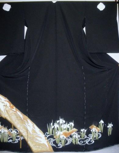 正絹留袖 江戸褄 浜ちりめん 在庫処分品 柄八掛付 日本製 未仕立て