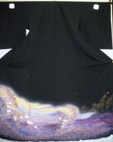 正絹留袖 江戸褄 丹後ちりめん 関芳 柄八掛付 日本製 未仕立て 送料無料
