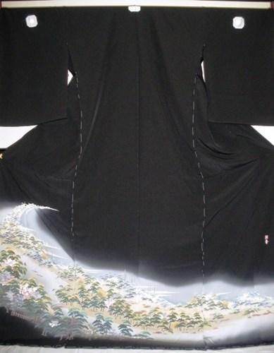 正絹留袖 江戸褄 島善織物 柄八掛付 日本製 未仕立て 送料無料