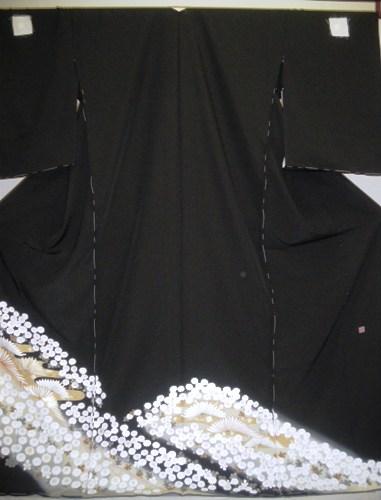 正絹留袖【江戸褄】【丹後ちりめん】【白菊】【柄八掛付】【日本製】【未仕立て】【送料無料】
