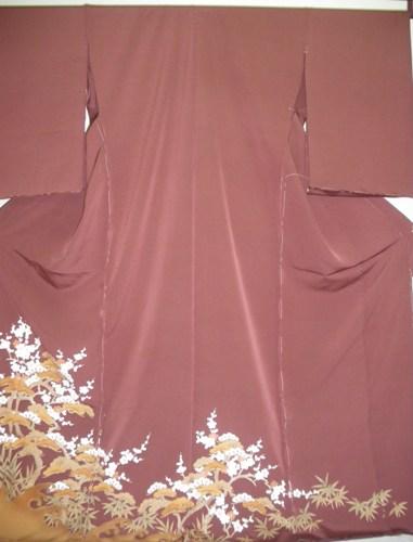 正絹色留袖 色江戸褄 茶色 京友禅 松竹梅 写し友禅 柄八掛付 日本製 未仕立て 送料無料