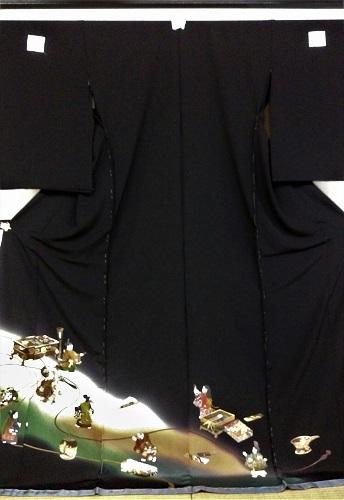 正絹留袖 江戸褄 浜ちりめん 水国織物 柄八掛付 日本製 未仕立て 送料無料