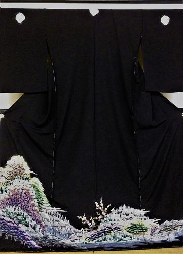 正絹留袖 江戸褄 島善 藤舟 柄八掛付 浜ちりめん 日本製 未仕立て 送料無料